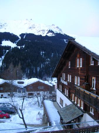 Klosters Youth Hostel: the view from our room.