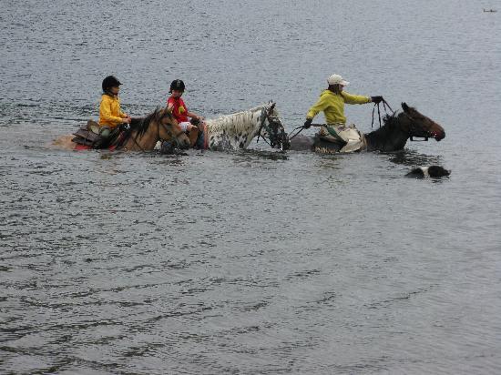 Estancia Peuma Hue : swimming in the lake
