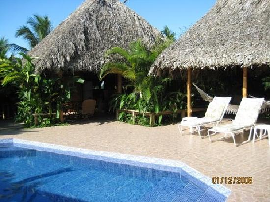 Garden of Eden Inn: Pool with dining/bar under thatched roof