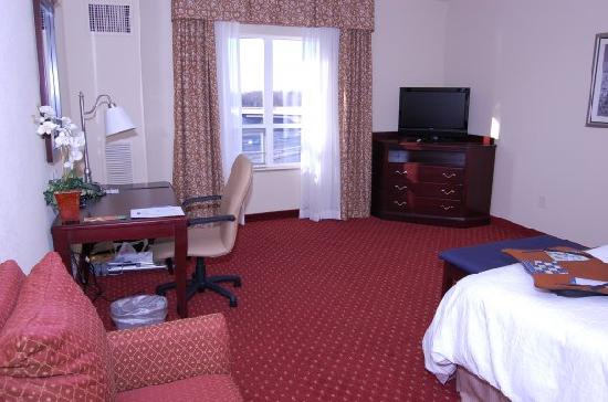 Hampton Inn & Suites Washington-Dulles International Airport: Whole room with flat screen TV in corner.