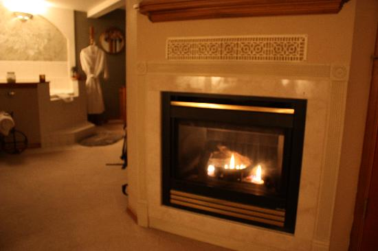 All Seasons River Inn: fireplace in the Evergreen Suite