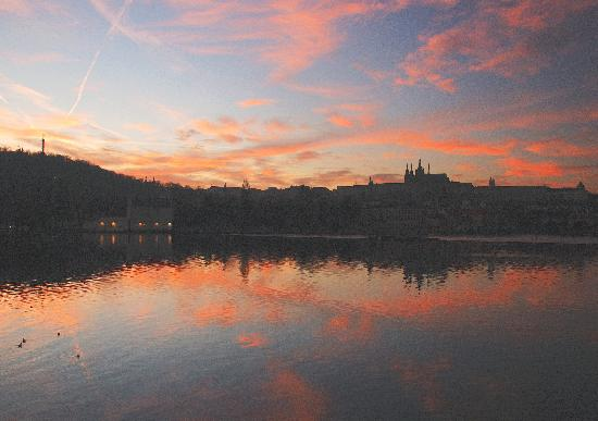 Prague, Czech Republic: Sunset from Smetana Embankment