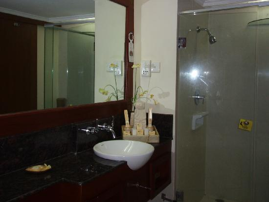 Grand Mirage Resort & Thalasso Spa - Bali: 洗面台とシャワー室