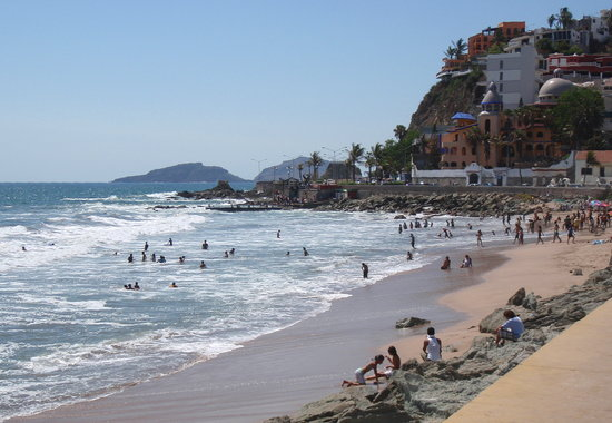"Mazatlan, Mexico: Looking north toward the ""swimmin' hole"", Playa Olas Altas"