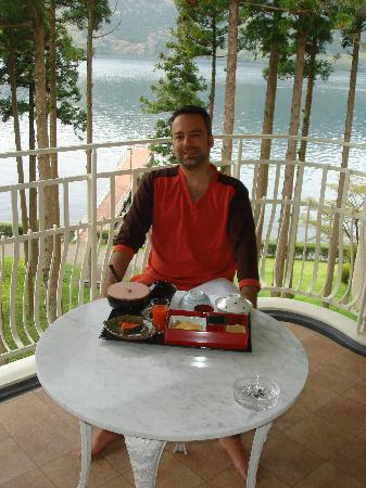 Hakone-en Lakeside Annex: Breakfast room service with a view in the background; Lake Hakone