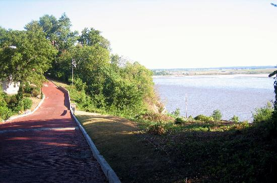 Alton, IL: Cobbled Street with View of the Mississippi