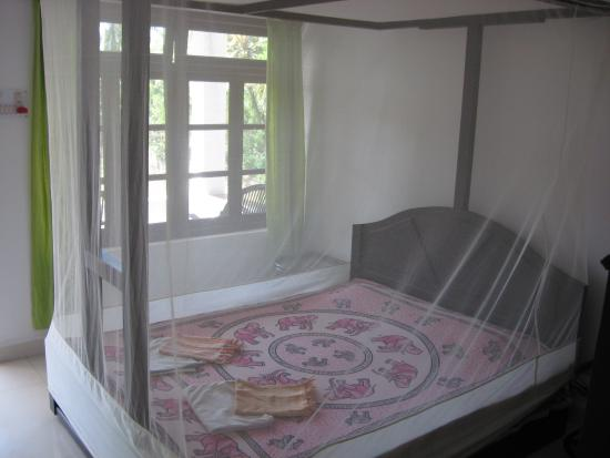 Heaven Goa Guesthouse: Bed with mosquito net