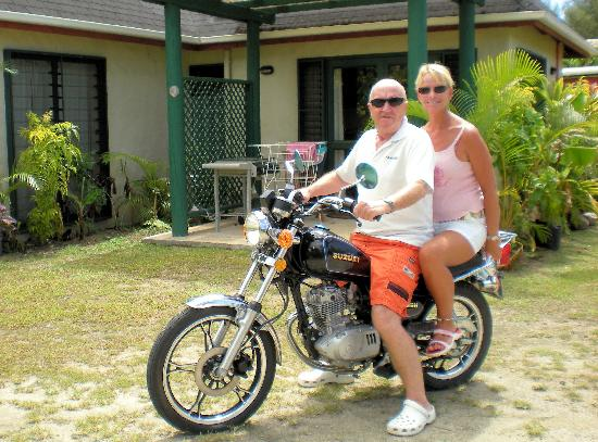 Dorothy's Muri Beach Bungalows: On our bike outside the bungalow