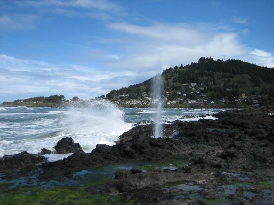 Yachats coastline: The blowhole with Yachats in the background