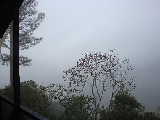 Paraiso, Costa Rica: a foggy view of the valley from our balcony