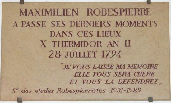 Conciergerie : Plaque for Robespierre