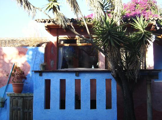 Hotel Casa Azul: above the stucco, behind the branches is room 9
