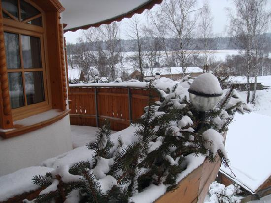 Rimbach, Alemania: Blick v. Balko auf verschneite Region