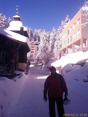 Hotel Astoria: The small road from the hotel to the ski lifts- we could ski our way back to the Astoria's doors