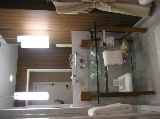 Hutton Hotel: bathroom with glass sink