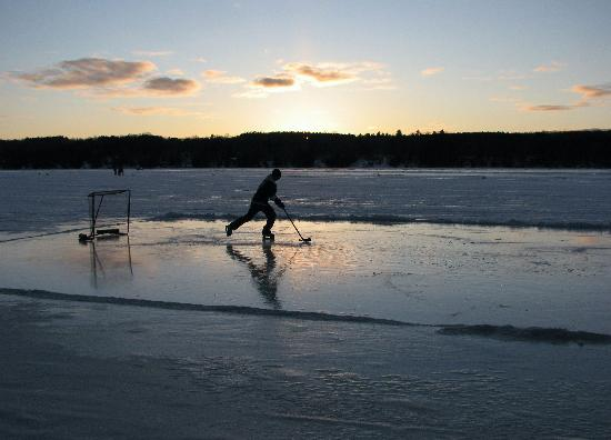 The Pines on Boshkung: Hockey at sunset