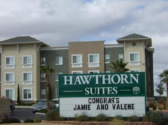 Hawthorn Suites by Wyndham Victorville: The sign with our names on it ;)
