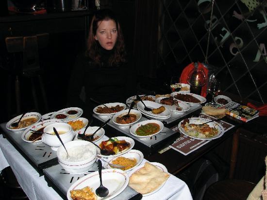 Sama Sebo: My wife taking a breather, we had already finished a few plates!