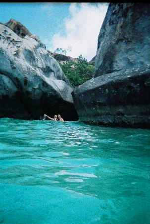 Virgin Gorda: In the water after exiting the Baths