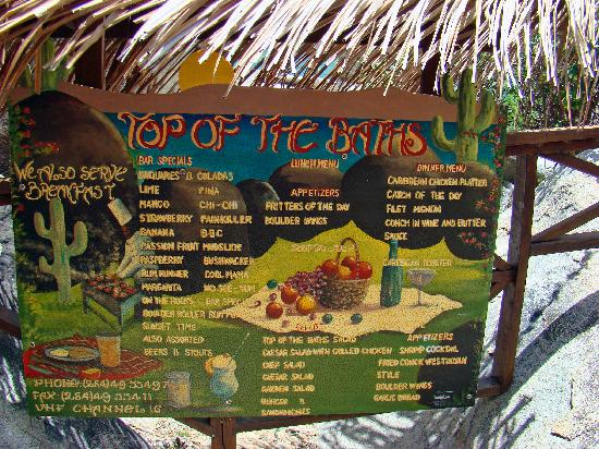 Top of The Baths restaurant menu, located on the path to the beach