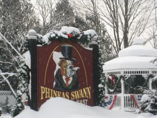 Phineas Swann Bed and Breakfast Inn: The Phineas Swann sign after several inches of fresh snow.