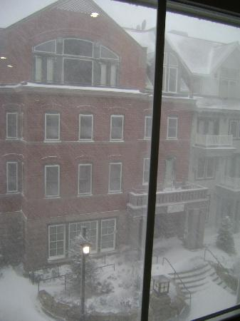 Expedition Station: View from our room of Seneca, building across courtyard, notice snow falling sideways in wind