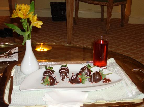 The Peninsula Beverly Hills: Room service.  Treat accompanied by a a complimentary drink.