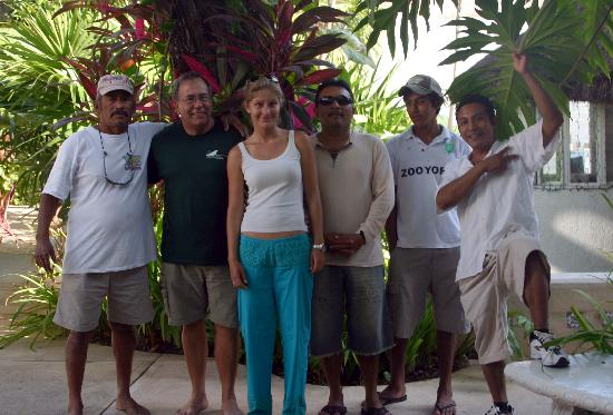 Tropical Escape Hotel: The writer with some of the great dive shop and hotel staff