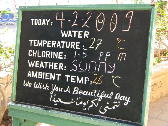 Steigenberger Nile Palace Luxor : Daily temperature board by the pool