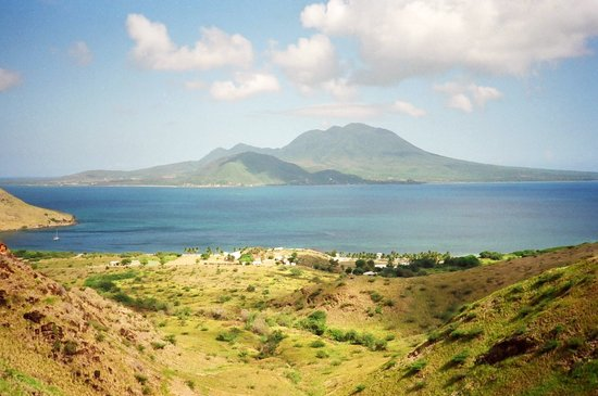 Costa Sur, Saint Kitts: View of Nevis from hills behind the beaches - steep hike, but not too hard. Photo from 1988.