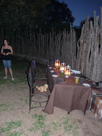 Kwa Madwala Private Game Reserve: our table for the boma