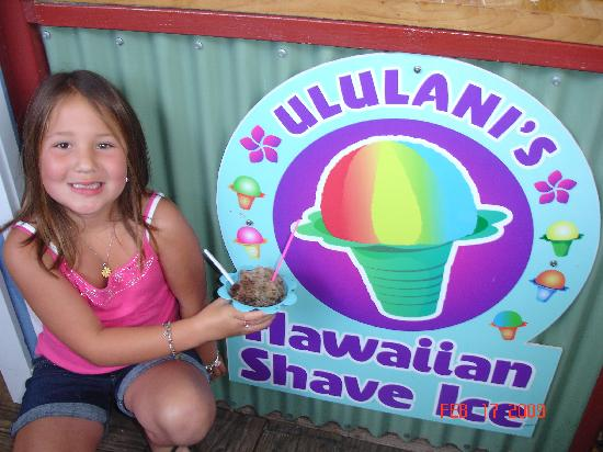 Ululani's Hawaiian Shave Ice: my daughter enjoying a yummy shaved ice