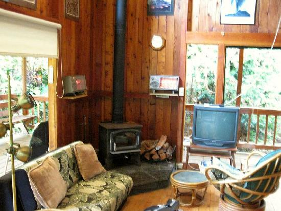 Country Goose Bed & Breakfast: Woodstove and sitting area in Hale Iki Cottage