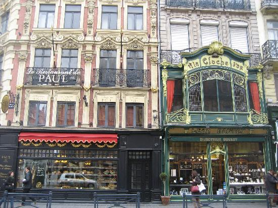 Beautiful building shop fronts, central Lille