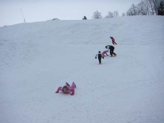 La Ferme de Florent: The kids playing directly opposite the chalet.