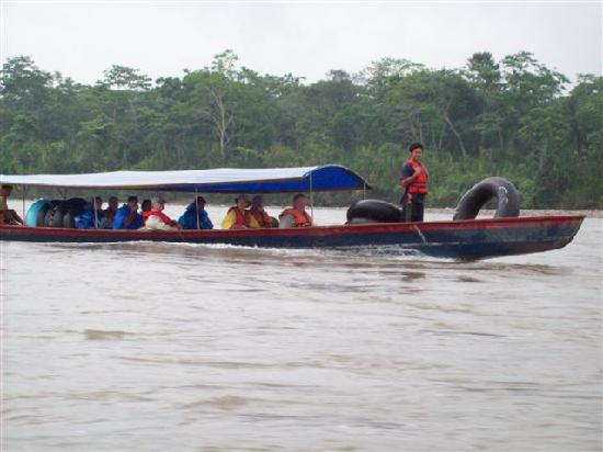 Puerto Napo, Ecuador: Motorized canoe on the Napo River