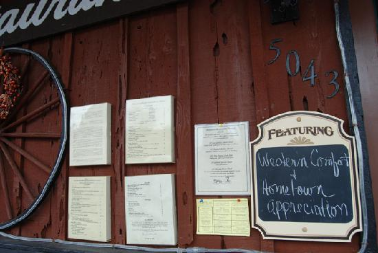 Charles Street Dinner House: menus posted at the restaurant