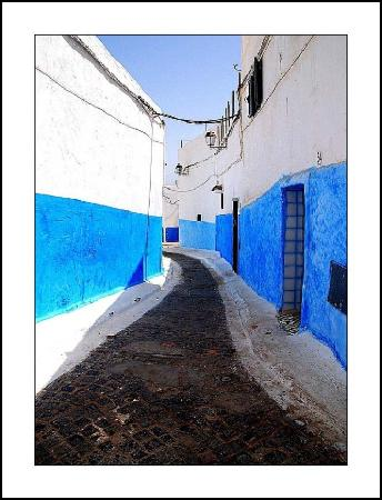 Typical houses of people liiving near Atlantic ocean at Rabat,blue&white dominant