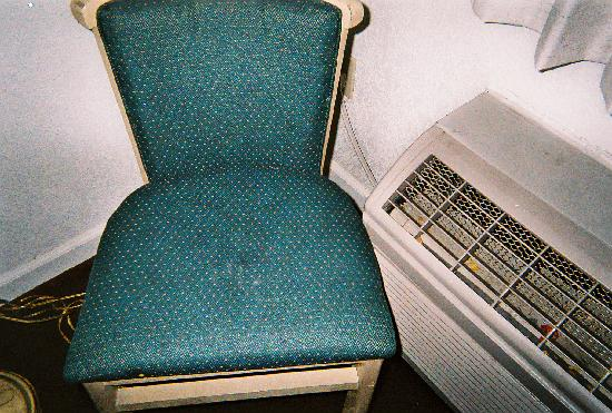 Super 8 Hayward Downtown: Chair and Air Conditioner - Dirty Gross