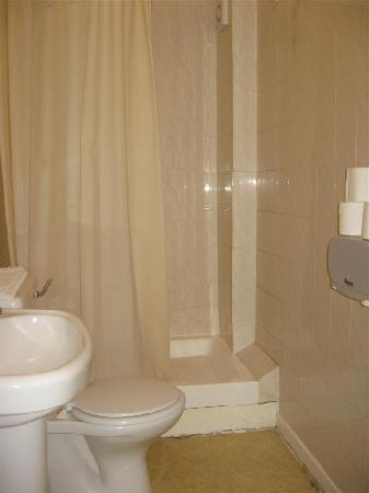 Stafford Hotel: The rather spartan, though thankfully clean, bathroom - shown here after the lightbulb was chang