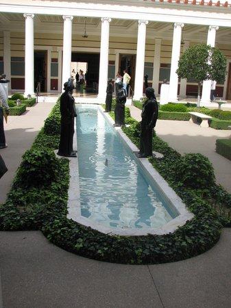 The Getty Villa: statues around small pool