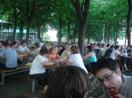 Letná Park : tables under the trees