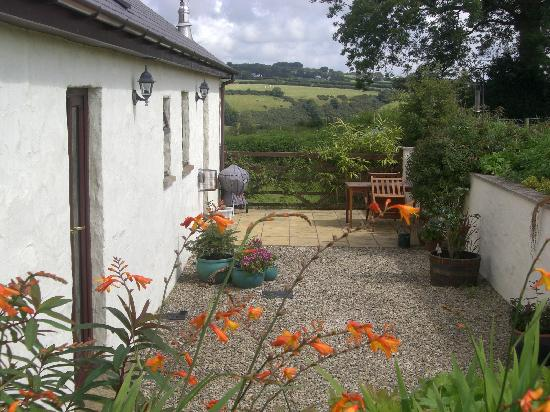 Coed Y Bryn, UK: Private courtyard garden of Cowshed Cottage
