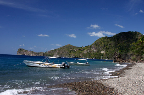 Saint Lucia: Joy's boat anchored for the BBQ