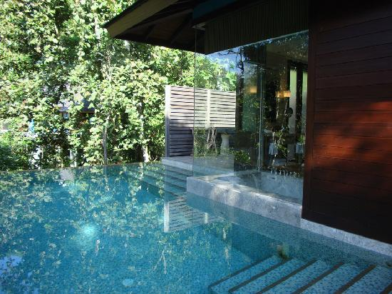 Four Seasons Resort Seychelles: Your own infinity pool with bathroom through the glass