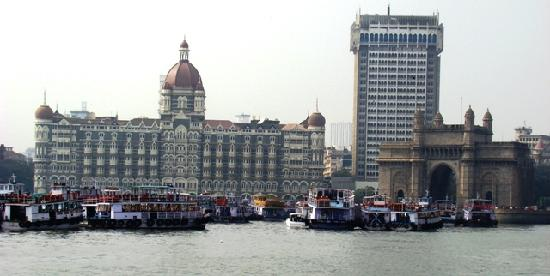 Elephanta Island, India: Gateway and Taj Mahal hotel