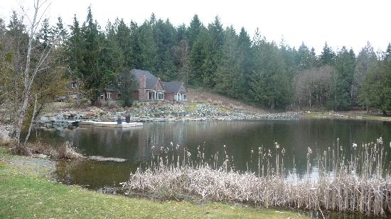 Ambraden Pond: House and pond