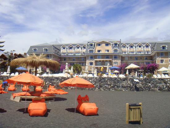 Gran Hotel Pucon from the Lava Sand Beach