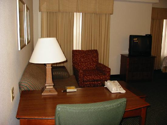 Carmel, IN: desk & living room (couch has fold-out bed)