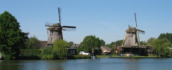 Windmills on river Vecht in Weesp